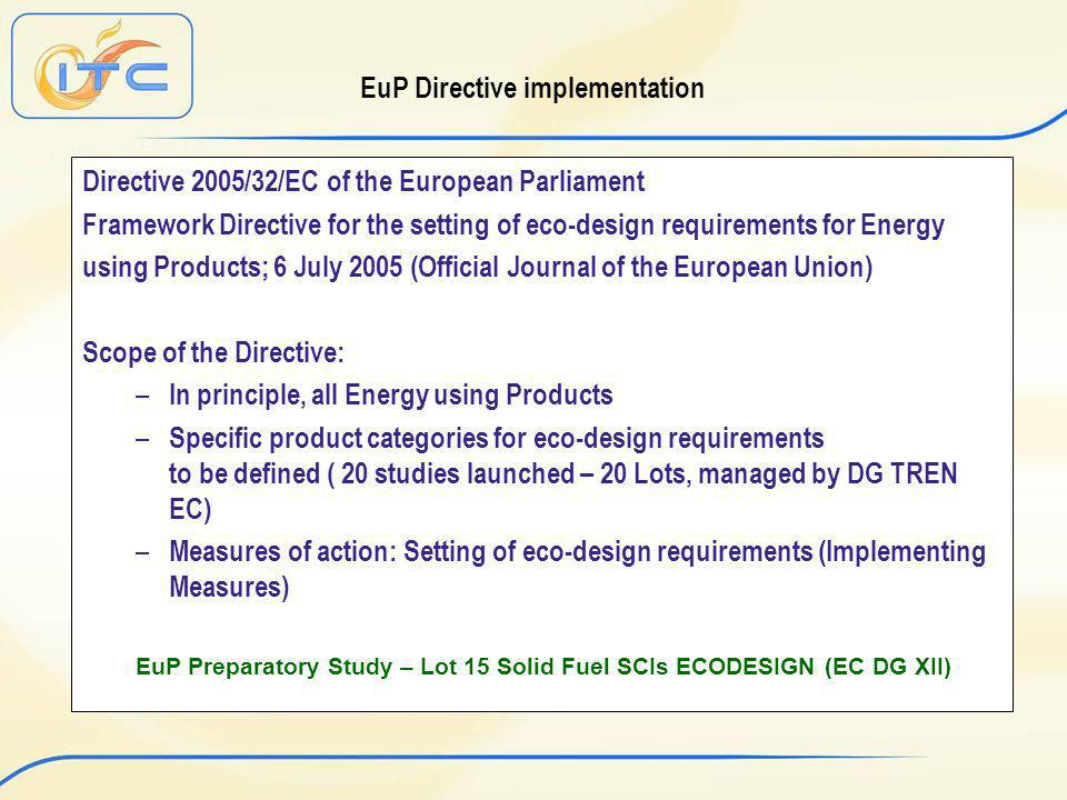 EuP Directive implementation Directive 2005/32/EC of the European Parliament Framework Directive for the setting of eco-design requirements for Energy using Products; 6 July 2005 (Official Journal of the European Union) Scope of the Directive: – In principle, all Energy using Products – Specific product categories for eco-design requirements to be defined ( 20 studies launched – 20 Lots, managed by DG TREN EC) – Measures of action: Setting of eco-design requirements (Implementing Measures) EuP Preparatory Study – Lot 15 Solid Fuel SCIs ECODESIGN (EC DG XII)
