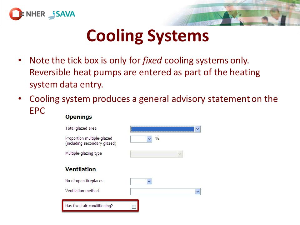 Cooling Systems Note the tick box is only for fixed cooling systems only.