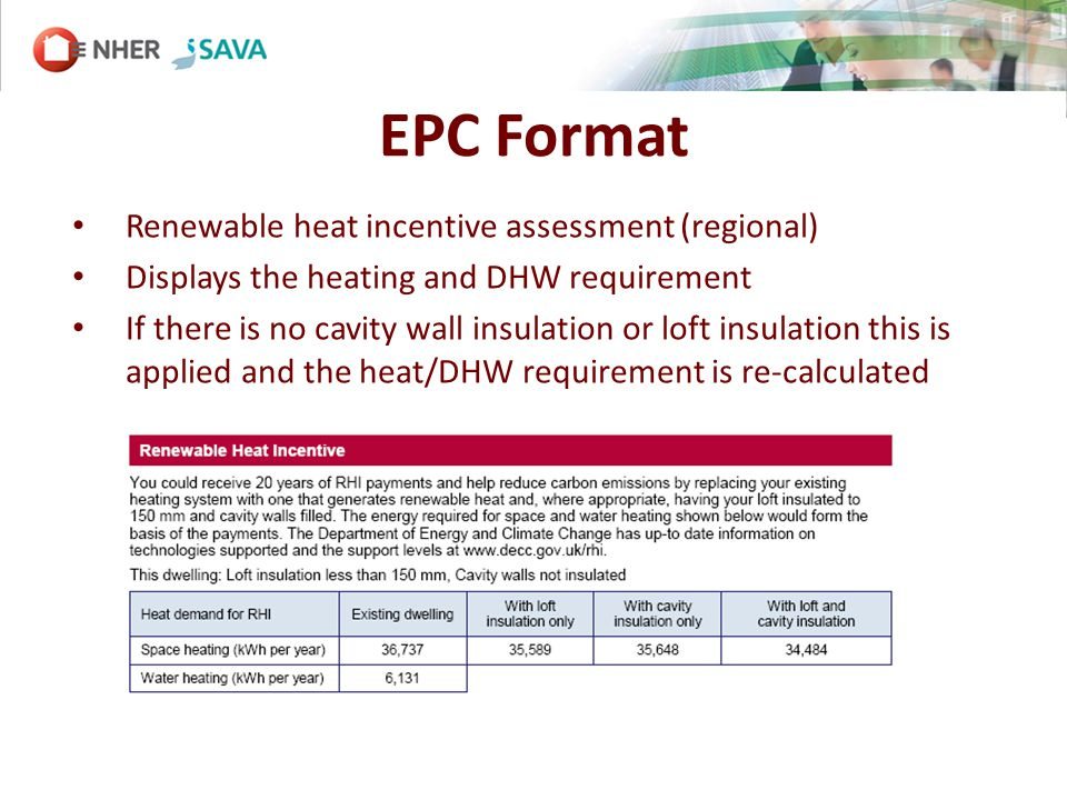 EPC Format Renewable heat incentive assessment (regional) Displays the heating and DHW requirement If there is no cavity wall insulation or loft insulation this is applied and the heat/DHW requirement is re-calculated