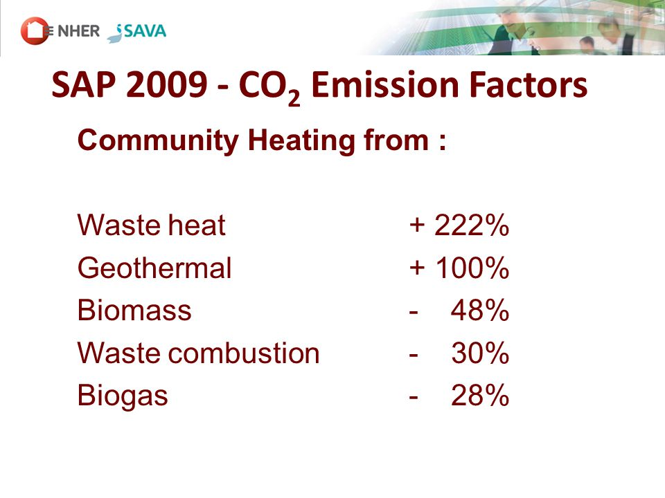 SAP 2009 - CO 2 Emission Factors Community Heating from : Waste heat + 222% Geothermal + 100% Biomass - 48% Waste combustion- 30% Biogas - 28%