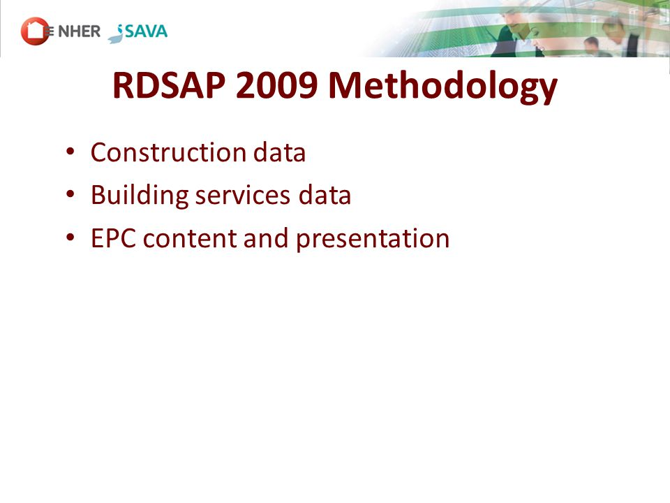 Construction data Building services data EPC content and presentation