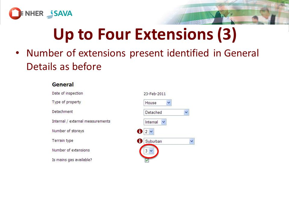 Up to Four Extensions (3) Number of extensions present identified in General Details as before