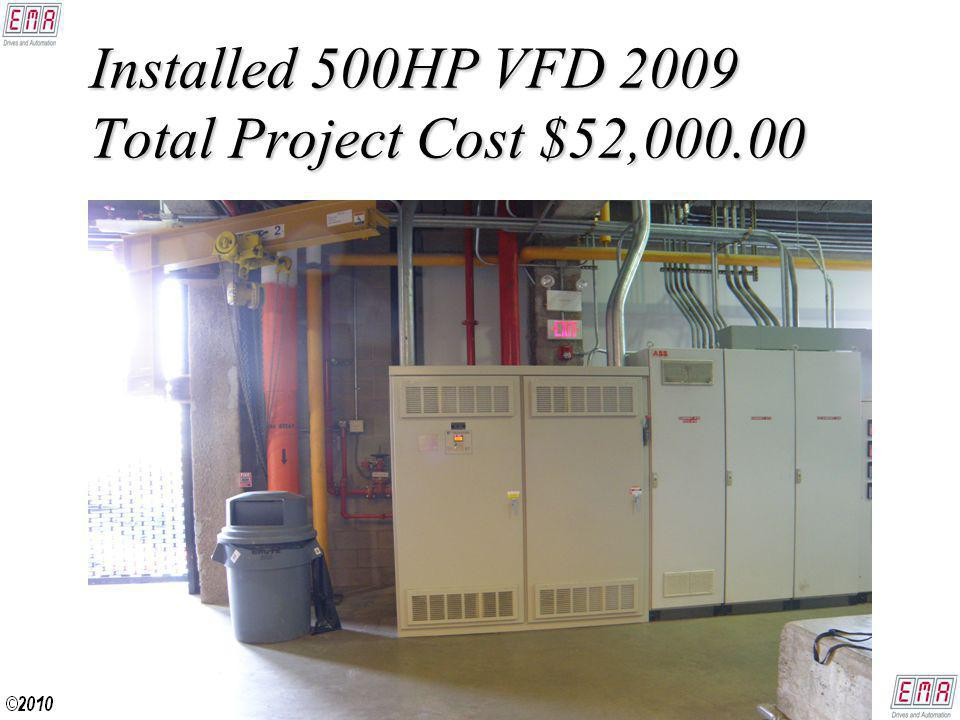 Installed 500HP VFD 2009 Total Project Cost $52,000.00