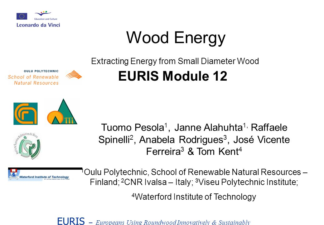 EURIS – Europeans Using Roundwood Innovatively & Sustainably Wood Energy Extracting Energy from Small Diameter Wood EURIS Module 12 Tuomo Pesola 1, Janne Alahuhta 1, Raffaele Spinelli 2, Anabela Rodrigues 3, José Vicente Ferreira 3 & Tom Kent 4 1 Oulu Polytechnic, School of Renewable Natural Resources – Finland; 2 CNR Ivalsa – Italy; 3 Viseu Polytechnic Institute; 4 Waterford Institute of Technology