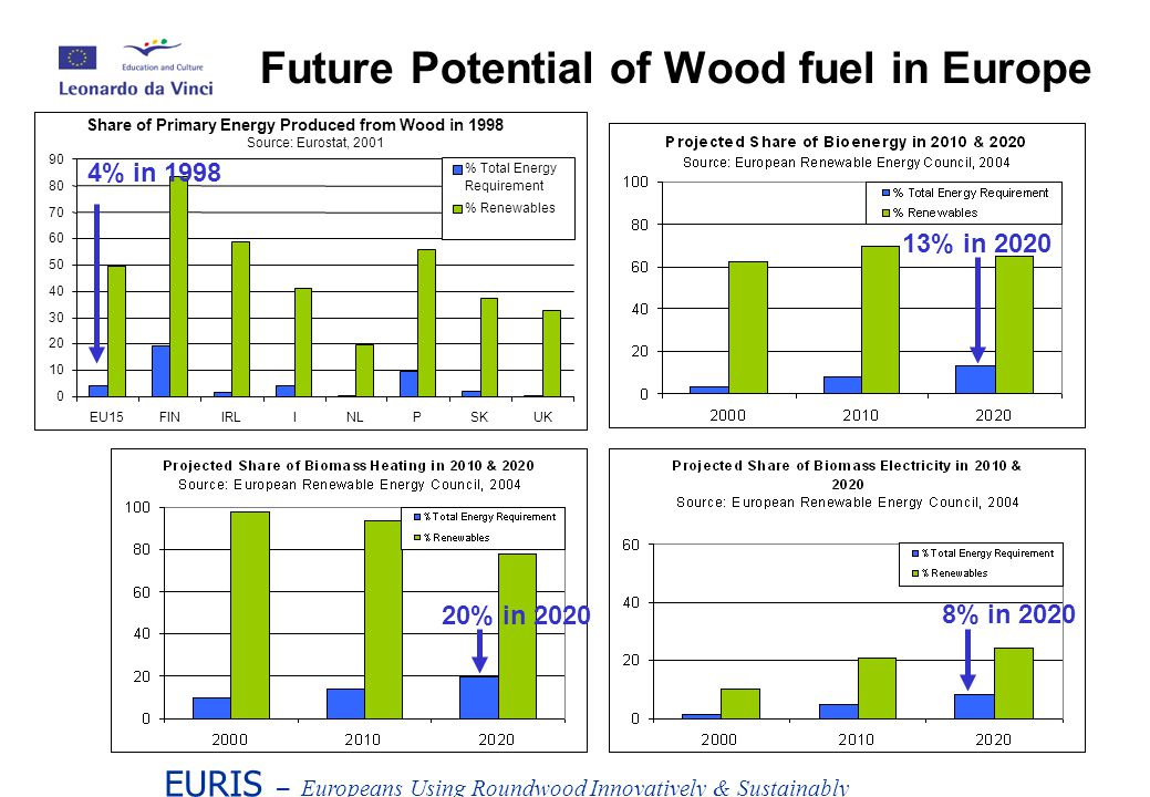 EURIS – Europeans Using Roundwood Innovatively & Sustainably Future Potential of Wood fuel in Europe Share of Primary Energy Produced from Wood in 1998 Source: Eurostat, 2001 0 10 20 30 40 50 60 70 80 90 EU15FINIRLINLPSKUK % Total Energy Requirement % Renewables 4% in 1998 8% in 2020 20% in 2020 13% in 2020