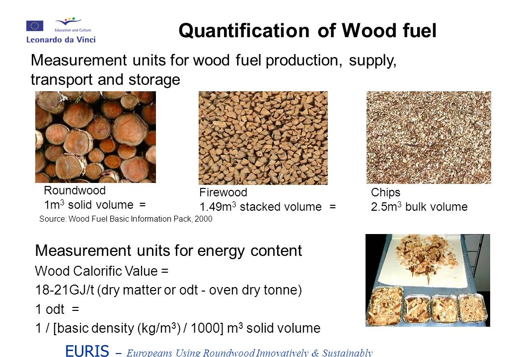 EURIS – Europeans Using Roundwood Innovatively & Sustainably Measurement units for energy content Wood Calorific Value = 18-21GJ/t (dry matter or odt - oven dry tonne) 1 odt = 1 / [basic density (kg/m 3 ) / 1000] m 3 solid volume Quantification of Wood fuel Measurement units for wood fuel production, supply, transport and storage Roundwood 1m 3 solid volume= Firewood 1.49m 3 stacked volume = Chips 2.5m 3 bulk volume Source: Wood Fuel Basic Information Pack, 2000