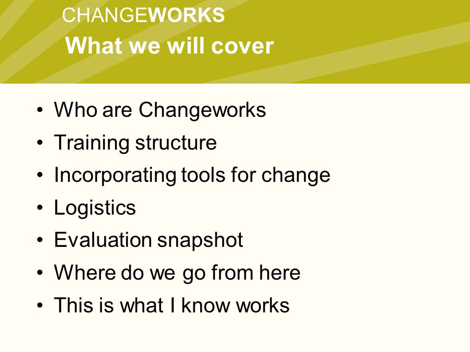 CHANGEWORKS Who are Changeworks Training structure Incorporating tools for change Logistics Evaluation snapshot Where do we go from here This is what I know works What we will cover
