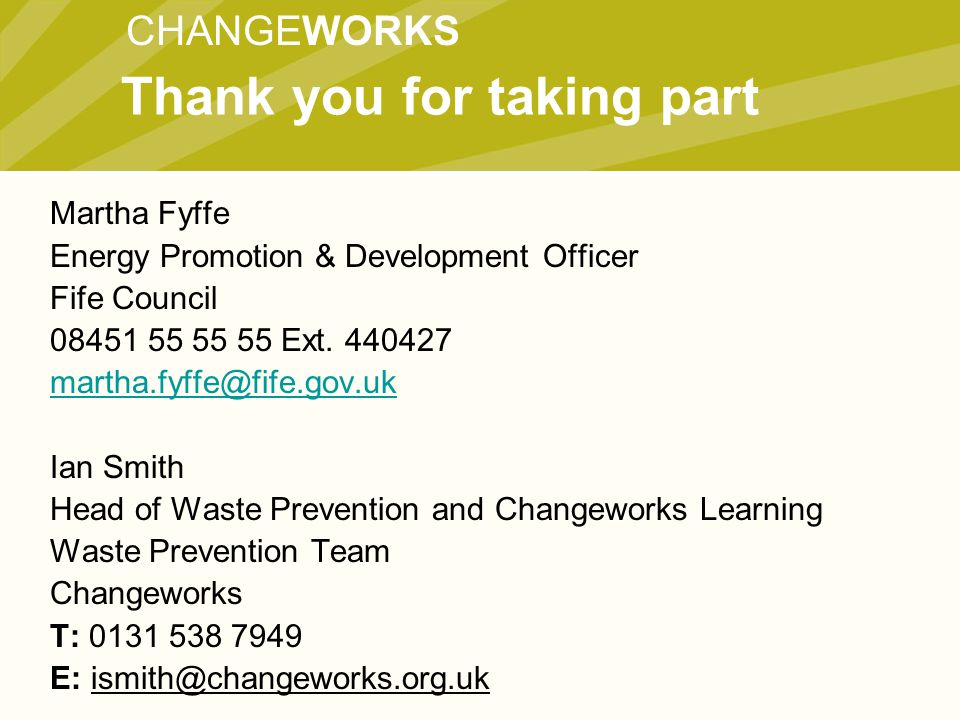 CHANGEWORKS Martha Fyffe Energy Promotion & Development Officer Fife Council 08451 55 55 55 Ext.
