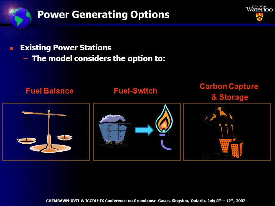Power Generating Options n Existing Power Stations –The model considers the option to: Fuel BalanceFuel-Switch Carbon Capture & Storage CHEMRAWN-XVII & ICCDU-IX Conference on Greenhouse Gases, Kingston, Ontario, July 8 th – 12 th, 2007