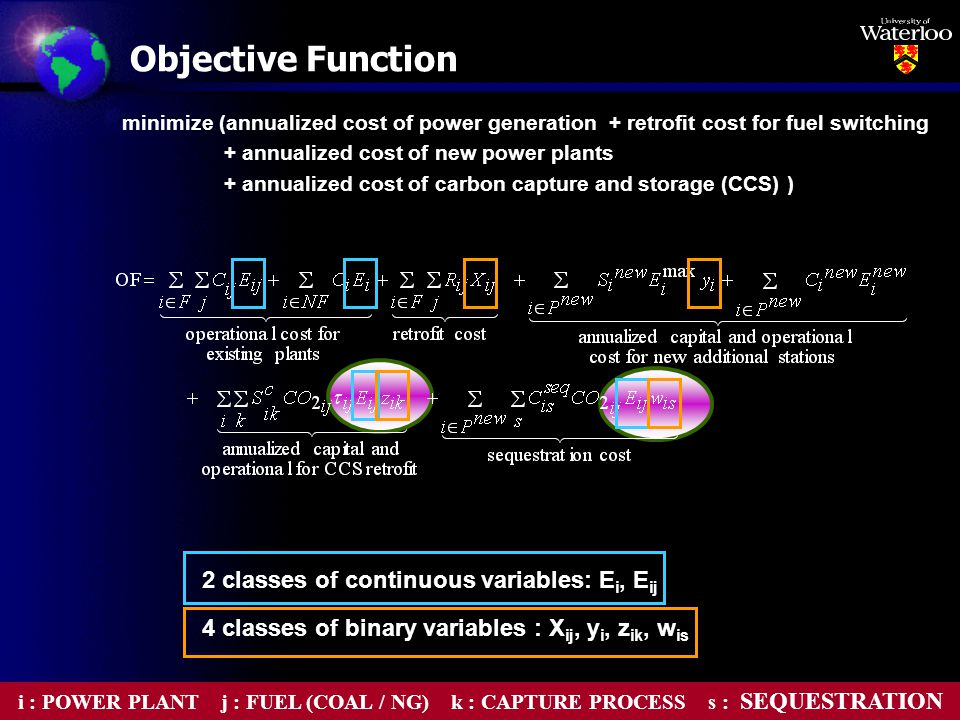minimize (annualized cost of power generation + retrofit cost for fuel switching + annualized cost of new power plants + annualized cost of carbon capture and storage (CCS) ) 2 classes of continuous variables: E i, E ij 4 classes of binary variables : X ij, y i, z ik, w is Objective Function i : POWER PLANT j : FUEL (COAL / NG) k : CAPTURE PROCESS s : SEQUESTRATION