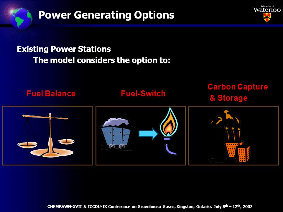 Power Generating Options Existing Power Stations The model considers the option to: Fuel BalanceFuel-Switch Carbon Capture & Storage CHEMRAWN-XVII & ICCDU-IX Conference on Greenhouse Gases, Kingston, Ontario, July 8 th – 12 th, 2007