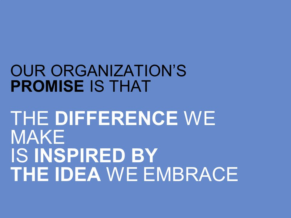 OUR ORGANIZATIONS PROMISE IS THAT THE DIFFERENCE WE MAKE IS INSPIRED BY THE IDEA WE EMBRACE