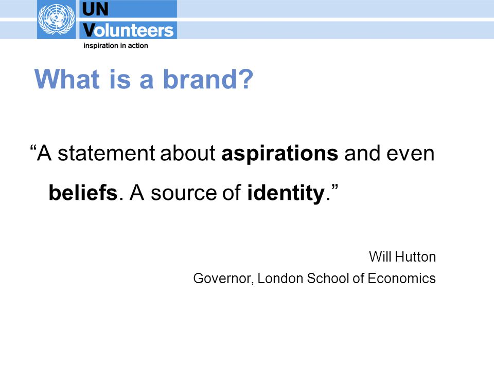 What is a brand. A statement about aspirations and even beliefs.
