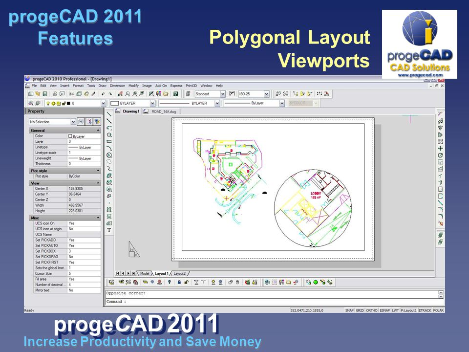 Polygonal Layout Viewports Increase Productivity and Save Money progeCAD 2011 Features