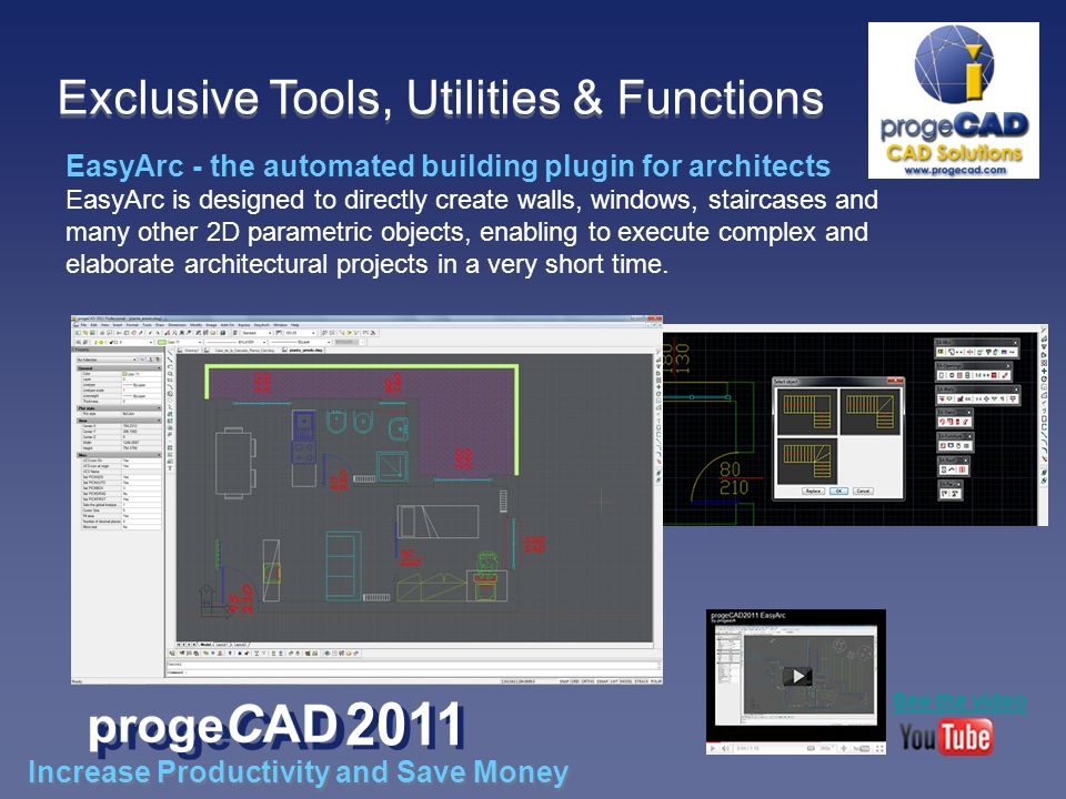 EasyArc - the automated building plugin for architects EasyArc is designed to directly create walls, windows, staircases and many other 2D parametric objects, enabling to execute complex and elaborate architectural projects in a very short time.