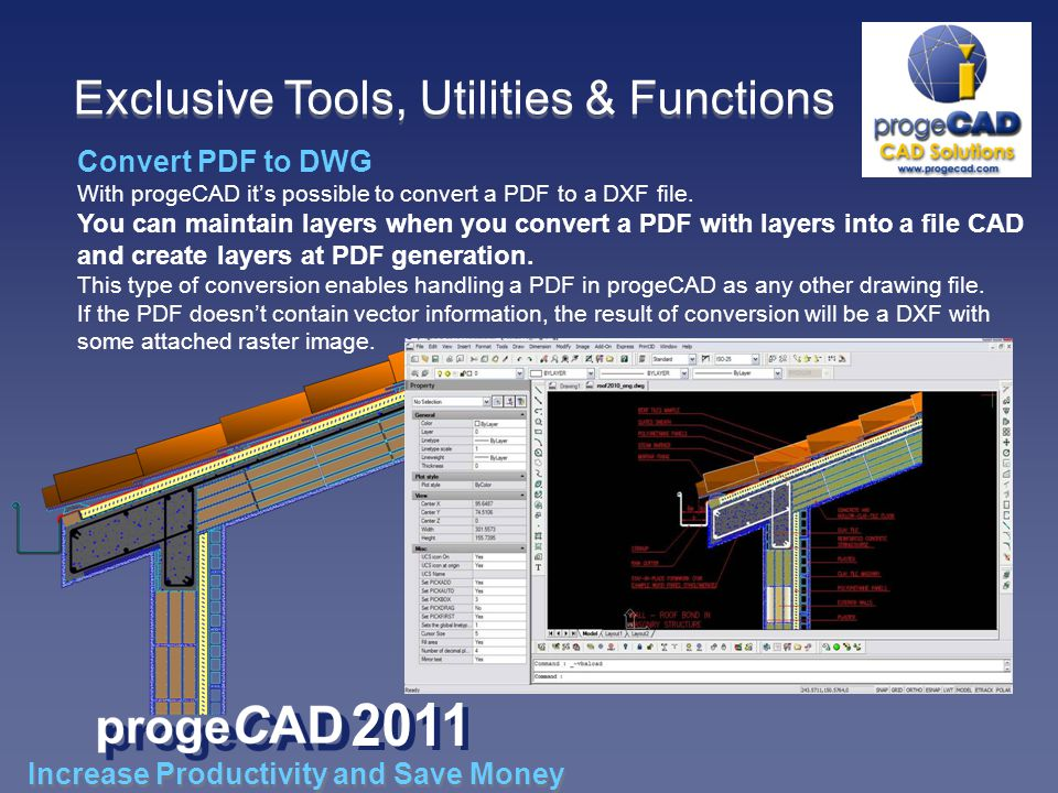 Convert PDF to DWG With progeCAD its possible to convert a PDF to a DXF file.