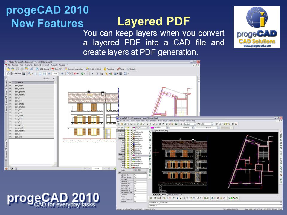 Layered PDF You can keep layers when you convert a layered PDF into a CAD file and create layers at PDF generation.