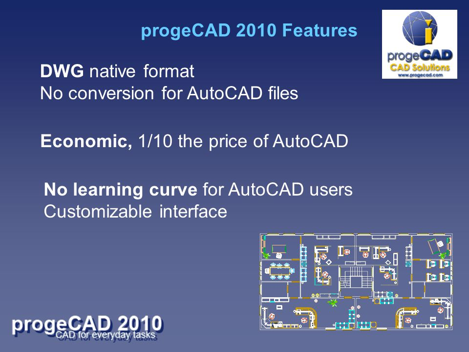 DWG native format No conversion for AutoCAD files Economic, 1/10 the price of AutoCAD No learning curve for AutoCAD users Customizable interface progeCAD 2010 Features