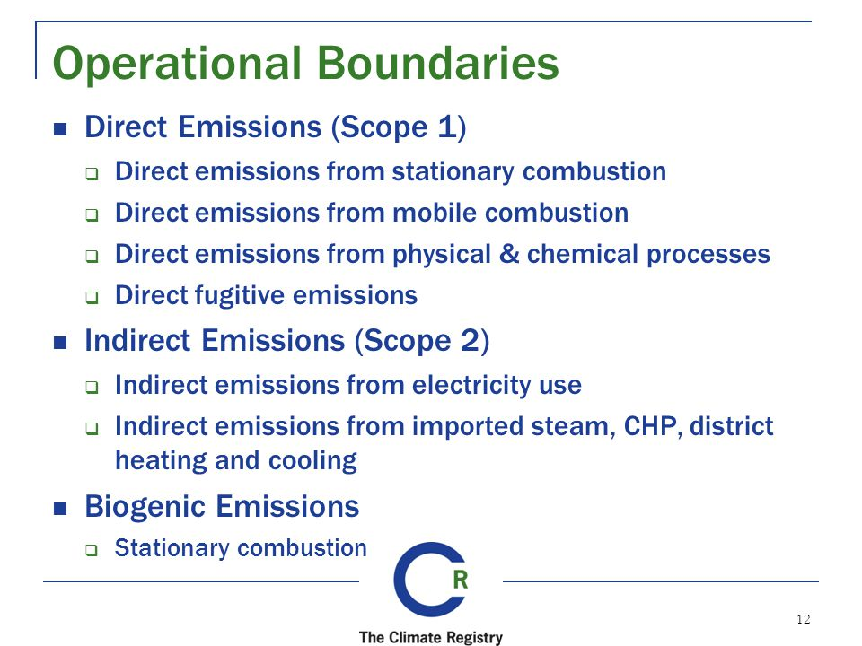 Operational Boundaries Direct Emissions (Scope 1) Direct emissions from stationary combustion Direct emissions from mobile combustion Direct emissions from physical & chemical processes Direct fugitive emissions Indirect Emissions (Scope 2) Indirect emissions from electricity use Indirect emissions from imported steam, CHP, district heating and cooling Biogenic Emissions Stationary combustion 12