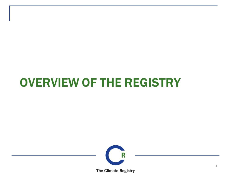 OVERVIEW OF THE REGISTRY 4