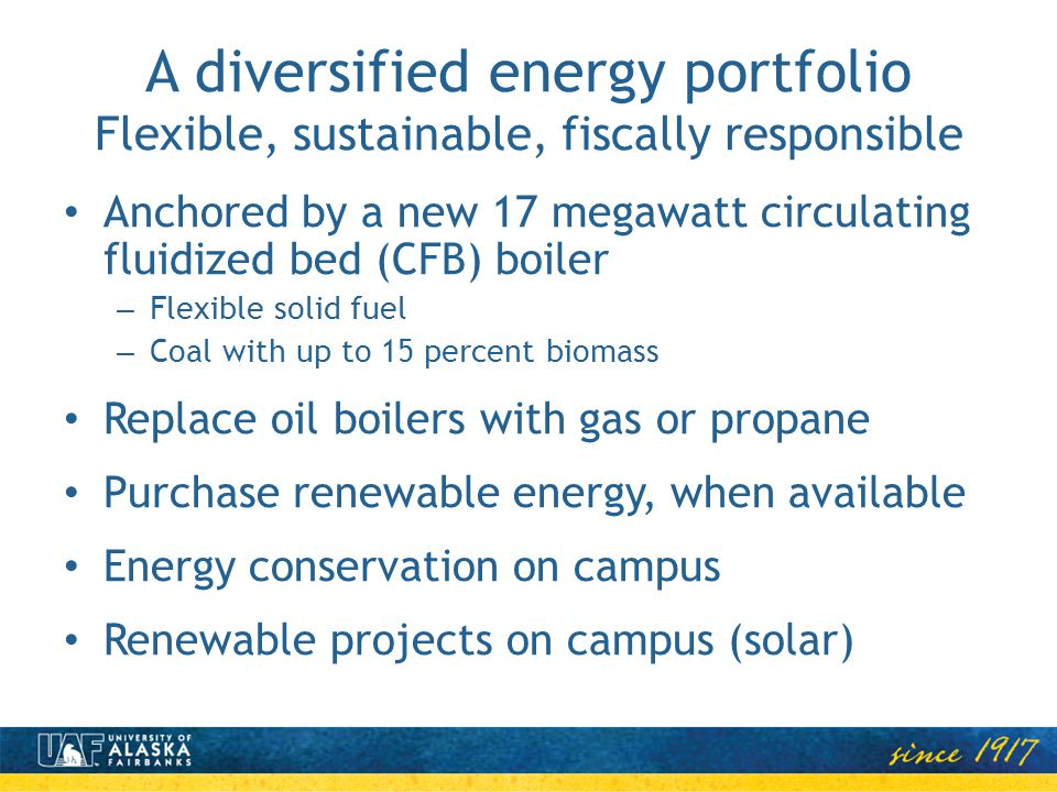 A diversified energy portfolio Flexible, sustainable, fiscally responsible Anchored by a new 17 megawatt circulating fluidized bed (CFB) boiler – Flexible solid fuel – Coal with up to 15 percent biomass Replace oil boilers with gas or propane Purchase renewable energy, when available Energy conservation on campus Renewable projects on campus (solar)