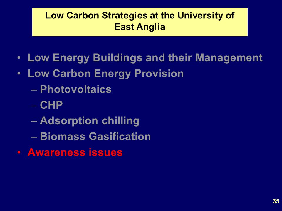 Low Energy Buildings and their Management Low Carbon Energy Provision –Photovoltaics –CHP –Adsorption chilling –Biomass Gasification Awareness issues Low Carbon Strategies at the University of East Anglia 35