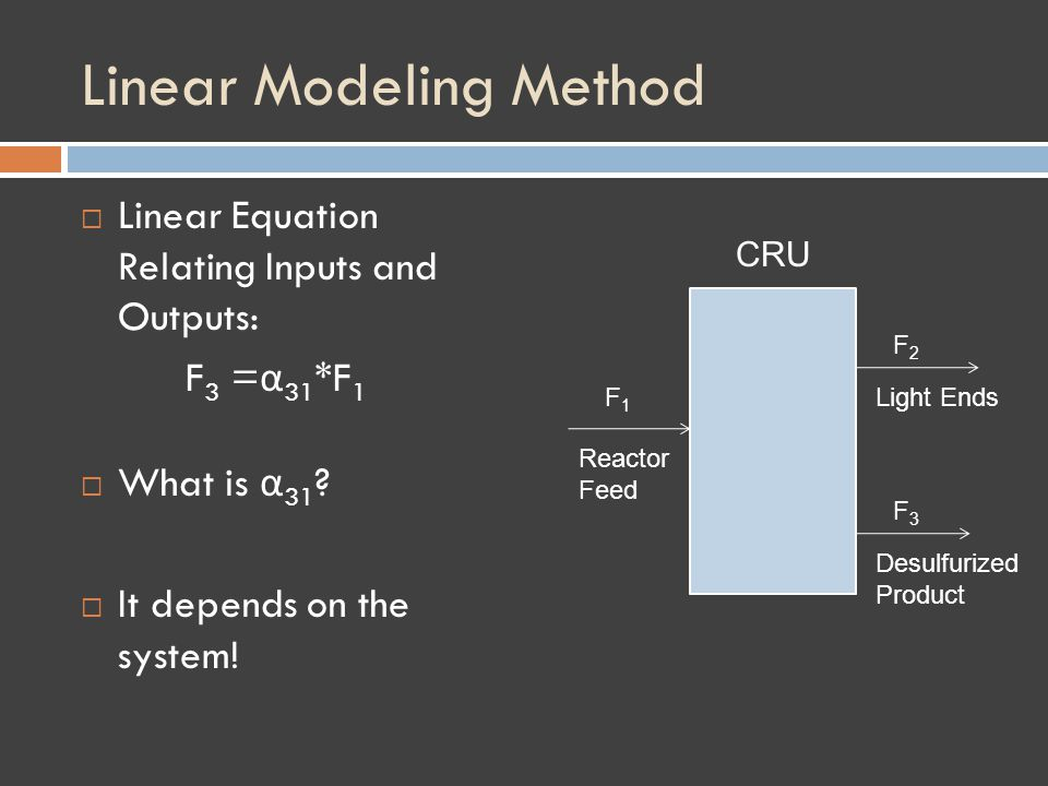 Linear Modeling Method Linear Equation Relating Inputs and Outputs: F 3 = α 31 *F 1 What is α 31 .