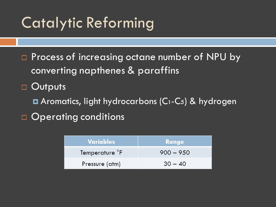 Catalytic Reforming Process of increasing octane number of NPU by converting napthenes & paraffins Outputs Aromatics, light hydrocarbons (C 1 -C 5 ) & hydrogen Operating conditions VariablesRange Temperature °F900 – 950 Pressure (atm)30 – 40