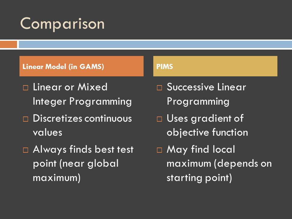 Comparison Linear or Mixed Integer Programming Discretizes continuous values Always finds best test point (near global maximum) Successive Linear Programming Uses gradient of objective function May find local maximum (depends on starting point) Linear Model (in GAMS) PIMS