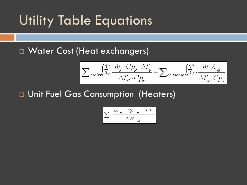 Utility Table Equations Water Cost (Heat exchangers) Unit Fuel Gas Consumption (Heaters)