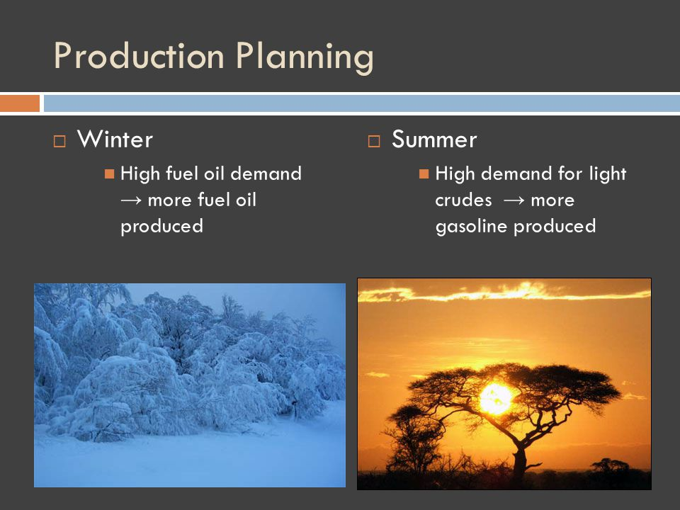 Production Planning Winter High fuel oil demand more fuel oil produced Summer High demand for light crudes more gasoline produced