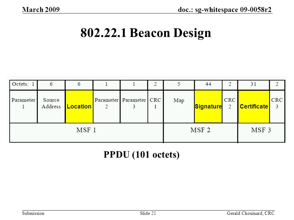 doc.: sg-whitespace 09-0058r2 Submission March 2009 Gerald Chouinard, CRCSlide 21 802.22.1 Beacon Design PPDU (101 octets) Location Signature Certificate
