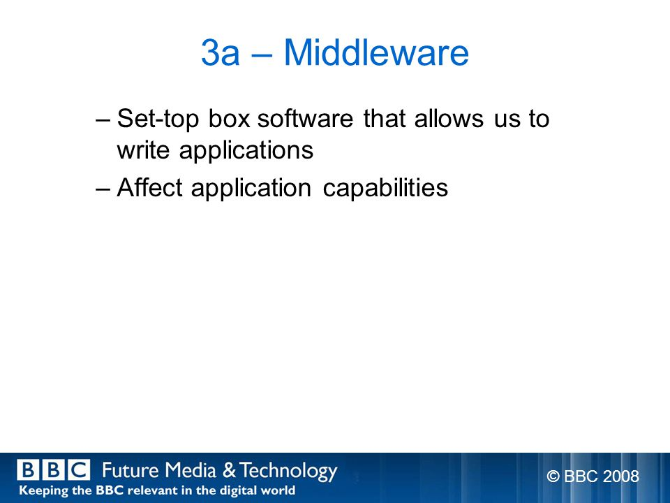 3a – Middleware –Set-top box software that allows us to write applications –Affect application capabilities © BBC 2008