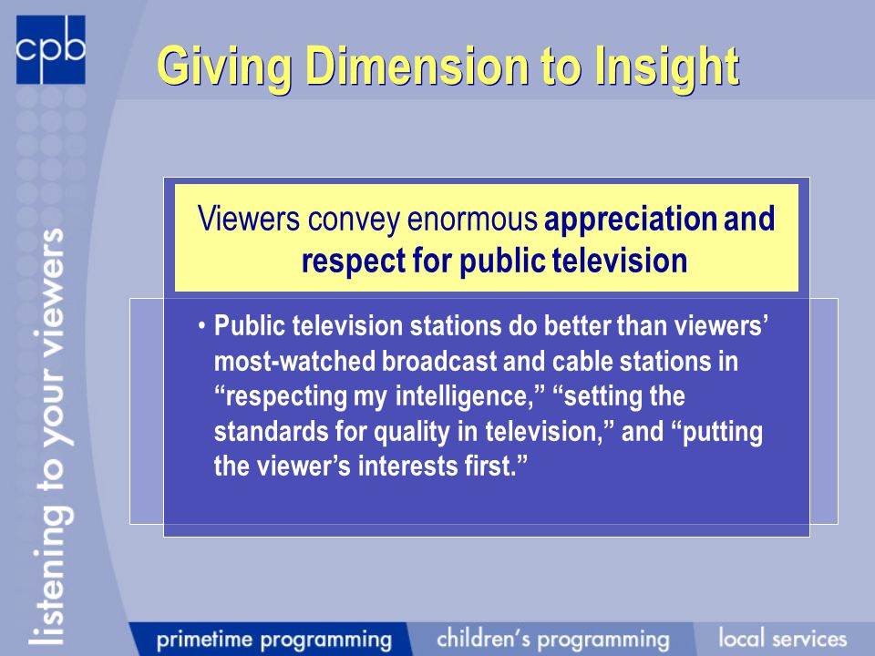 Giving Dimension to Insight Viewers convey enormous appreciation and respect for public television Public television stations do better than viewers most-watched broadcast and cable stations in respecting my intelligence, setting the standards for quality in television, and putting the viewers interests first.