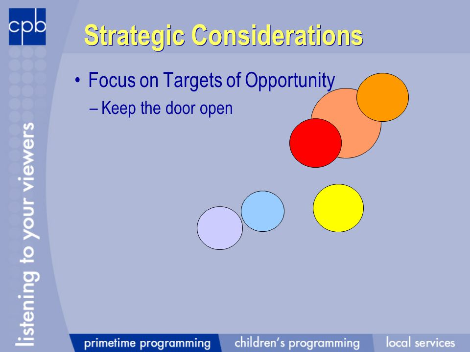 Strategic Considerations Focus on Targets of Opportunity –Keep the door open