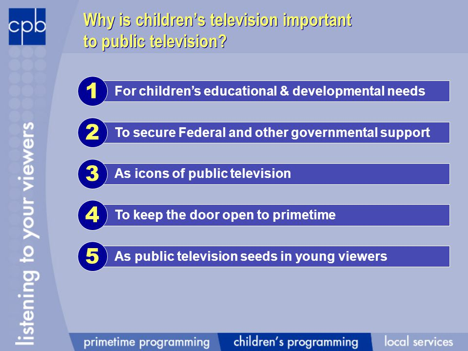 For childrens educational & developmental needs 1 Why is childrens television important to public television.