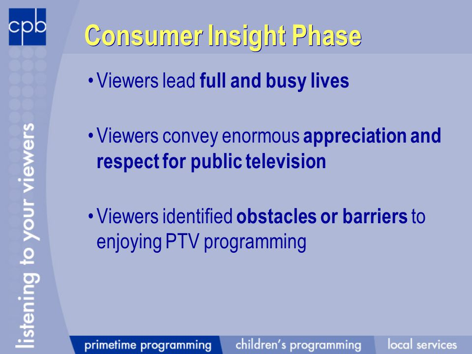 Consumer Insight Phase Viewers lead full and busy lives Viewers convey enormous appreciation and respect for public television Viewers identified obstacles or barriers to enjoying PTV programming