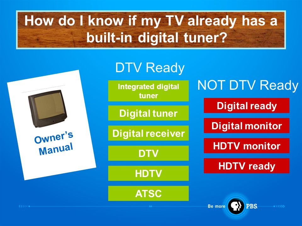 Integrated digital tuner Digital tuner Digital receiver DTV ATSC HDTV Digital ready Digital monitor HDTV monitor HDTV ready Owners Manual How do I know if my TV already has a built-in digital tuner.