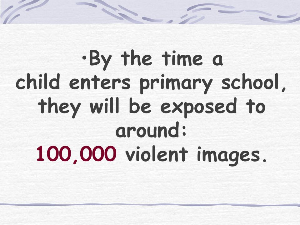 Your estimate… How many violent images will the average child be exposed to BEFORE commencing primary school