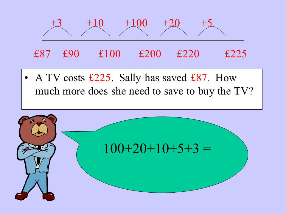 _______________________ A TV costs £225. Sally has saved £87.