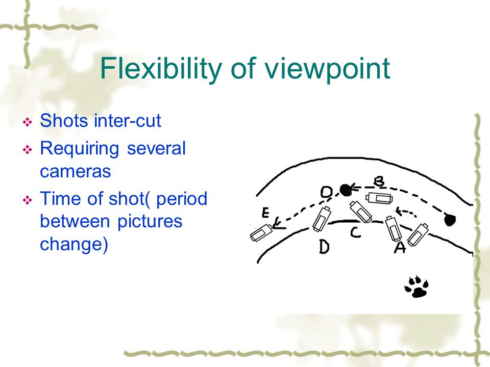 Flexibility of viewpoint Shots inter-cut Requiring several cameras Time of shot( period between pictures change)