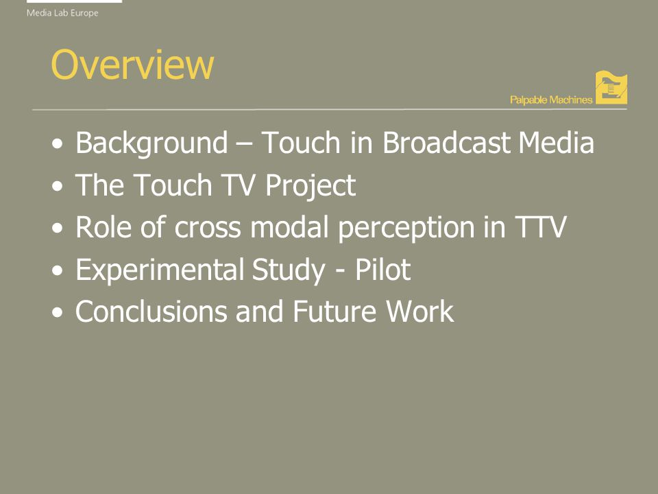 Overview Background – Touch in Broadcast Media The Touch TV Project Role of cross modal perception in TTV Experimental Study - Pilot Conclusions and Future Work