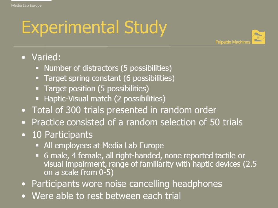Experimental Study Varied: Number of distractors (5 possibilities) Target spring constant (6 possibilities) Target position (5 possibilities) Haptic-Visual match (2 possibilities) Total of 300 trials presented in random order Practice consisted of a random selection of 50 trials 10 Participants All employees at Media Lab Europe 6 male, 4 female, all right-handed, none reported tactile or visual impairment, range of familiarity with haptic devices (2.5 on a scale from 0-5) Participants wore noise cancelling headphones Were able to rest between each trial
