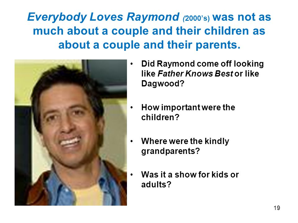 Everybody Loves Raymond (2000s) was not as much about a couple and their children as about a couple and their parents.
