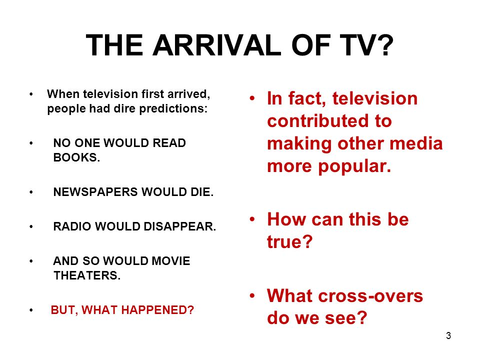 THE ARRIVAL OF TV.
