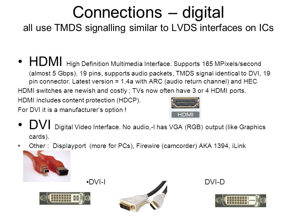Connections – digital all use TMDS signalling similar to LVDS interfaces on ICs HDMI High Definition Multimedia Interface.