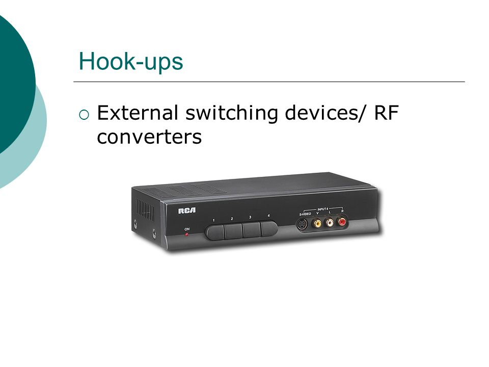 Hook-ups External switching devices/ RF converters