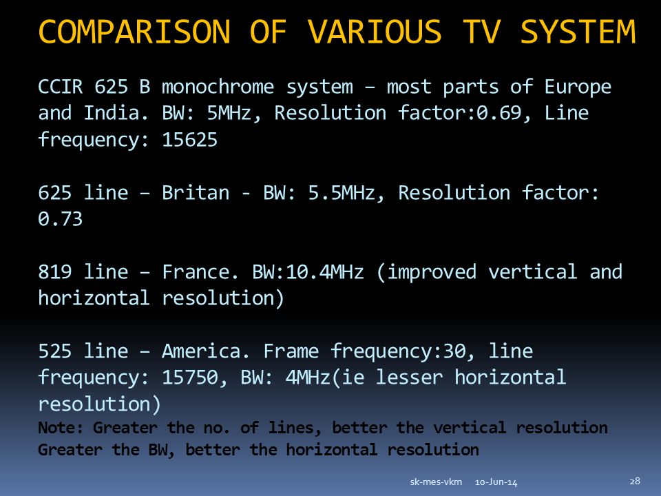COMPARISON OF VARIOUS TV SYSTEM CCIR 625 B monochrome system – most parts of Europe and India.