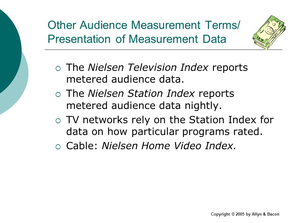 Copyright © 2005 by Allyn & Bacon Other Audience Measurement Terms/ Presentation of Measurement Data The Nielsen Television Index reports metered audience data.