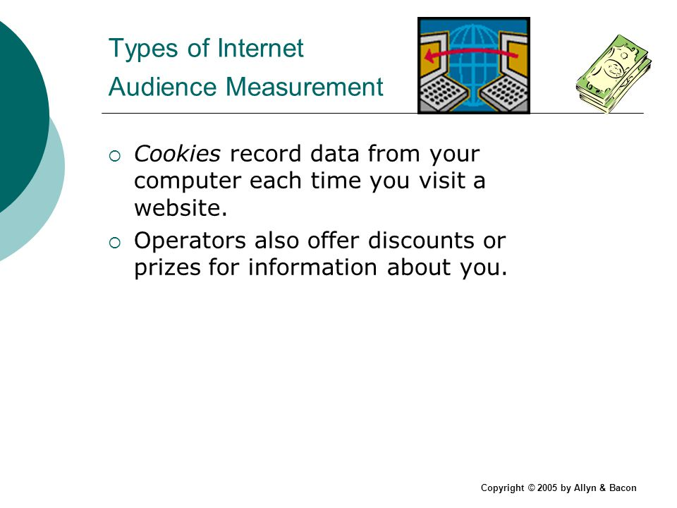 Copyright © 2005 by Allyn & Bacon Types of Internet Audience Measurement Cookies record data from your computer each time you visit a website.